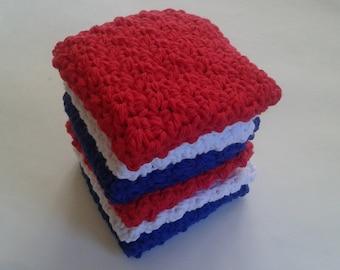 Cloth Pads Reusable, Crocheted Cotton Dishcloths, Washcloths, Set of 6