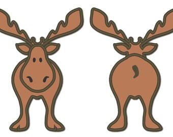 Front and back cute elk - machine embroidery designs - hoops 4x4, 5x7 and 6x10, FRONT BACK KIDS embroidery funny