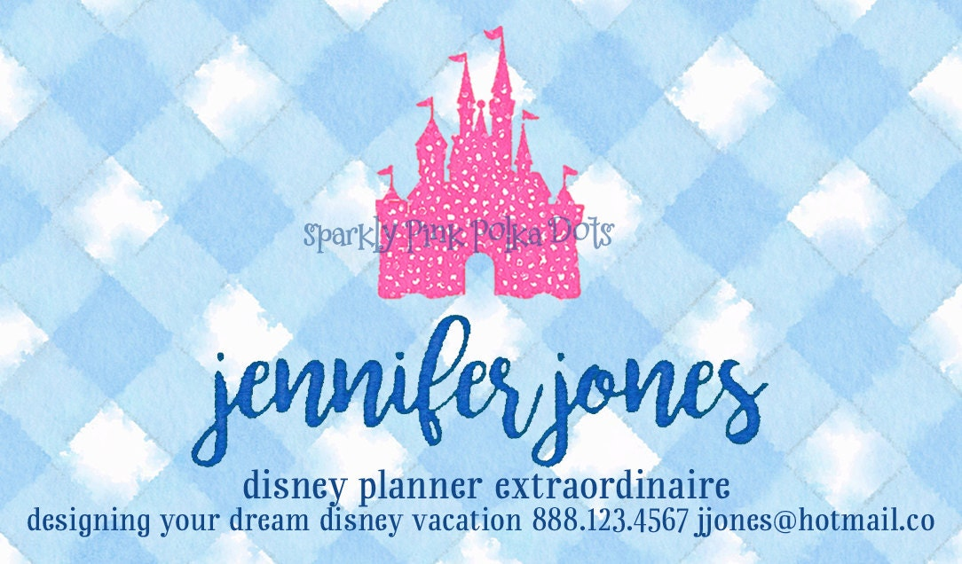 Disney Travel Agent Planner Business Cards with Castle Mickey