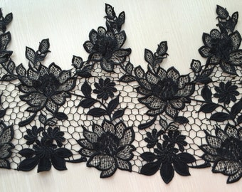 Black Lace Trim Super Wide Floral Embroidered Scalloped Lace Trim 13.38 Inches Wide 1 yard