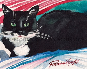 Tuxedo Cat Printable Image Digital Print of my Original Watercolor Painting Instant Download Cat Art Image Picture Wall Decor Home Artwork