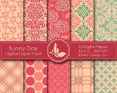 50% Off Sunny Day Paper Pack - 10 Digital papers - 12 x12 - 300 DPI