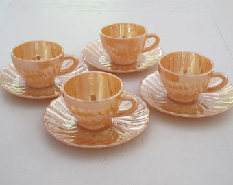 set of 4 Opalescent Glass glass coffee cup or tea cups and saucers , 1950 iredescent wisted glass, Peach Lusterware  glass tea cups