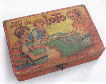 "Vintage 1950  French wood case, french board game box ""jeu de loto'"