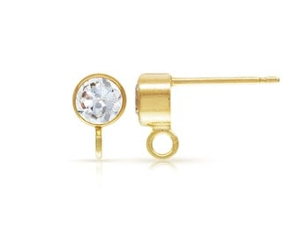 14Kt Gold Filled 4.0mm CZ Tubez Post Earring W/Ring  - 1pr High Quality Ear Posts (6458)/1