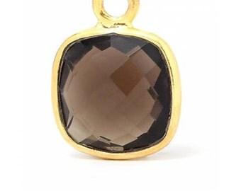 Smokey Quartz Gemstone Bezel Drop Gold Plated Sterling Silver 6mm- 1pc Good Quality Wholesale price (7994)/1