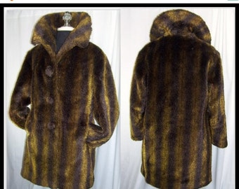 End Summer Sale Vintage 60s Mini Swing Coat Jacket Faux Dark Brown Gold Mink Fur Stripe by Lan Siang