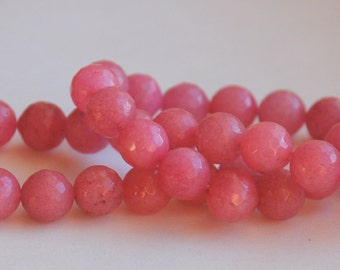 Half Strand 10mm Faceted Rose Pink Agate Gemstone Round Beads - 18 beads