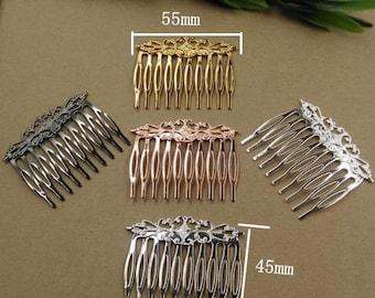 4pcs 55x45mm Antiqued Bronze/Silver/Gold/Rose gold/Gunmetal Color Metal Hair Comb