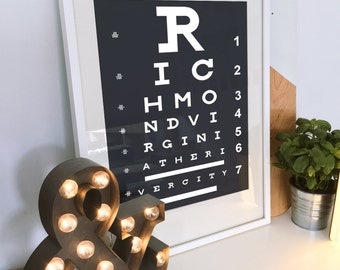 Virginia Art, Richmond, VA, Art Poster, Eye Chart, Art Print, Housewarming Gift, Living Room Decor, Richmond Art