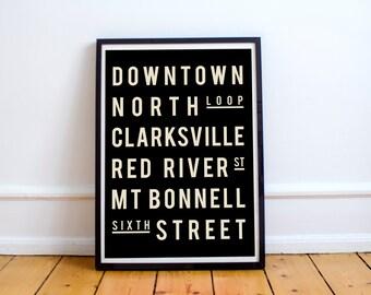 Austin Print, Subway Art, Poster, Living Room, Decor, Holiday Gift, Christmas Gift, Typography Print, Wall Art