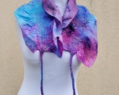 Felted scarf, silk, wool, nuno, felted, gift, fibre art, purple, blue