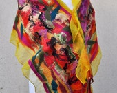 Beautiful scarfl, felted scarf, silk, wool, nuno, felted, gift, fibre art, yellow, red, orange, black, pink