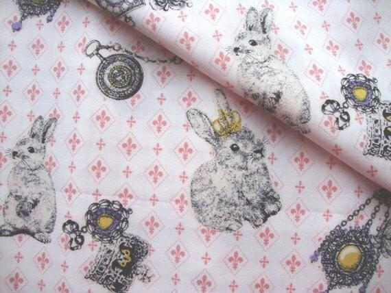 Japanese Fabric Cotton Kokka - Vintage Rabbit - half yard
