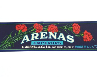 Vintage New Old Stock Unused ARENAS Emperor Grapes Vegetable / Fruit Crate Label