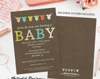 gender neutral baby shower invitations bunting bodysuit banner sprinkle diaper couples stock the library (item 1407) shabby chic invitation