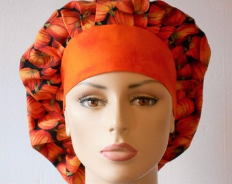 Halloween Pumpkin Patch Bouffant Pumpkins All Over Scrub Hat  With An Orange Muted Headband Made in USA