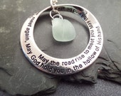 Scottish Irish Blessing Necklace with White Sea Glass and Engraved Hoop, Mobius Strip Pendant, White and Silver Jewelry from Scotland