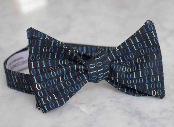 Binary Code Bow Tie in Black - Computer programing bow tie - clip on, pre-tied with strap or self tying