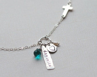 Personalized Necklace, Name Plate Necklace, Mothers Necklace, Sideways Cross, Date Necklace, Gift fopr Her, Sterling Silver