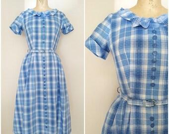 Vintage 1950s Dress / Blue Plaid / Cotton Dress / Small