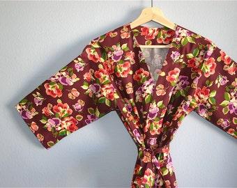 SALE. Plum Kimono Robe.  Burgundy Bridesmaids Robe. Blue Kimono. Blue Dressing Gown. Modern Kimono Autumn Skies. Knee and Mid Calf Lengths.
