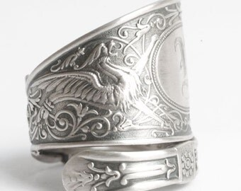 Griffin Ring, Sterling Silver Spoon Ring, Griffon Ring, Silver Dragon Ring, Sterling Dragon Jewelry, Engraved M, Adjustable Ring Size (6053)