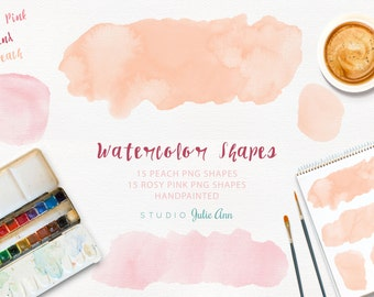 Handpainted Watercolor Shapes Splotches