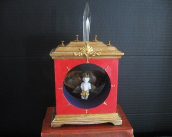 "Collage,Assemblage, 3-D, Mixed media, Up-cycled Clock case, Shrine ""Conqueror"" OOAK"