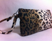 Wristlet, Leopard Purse, Rockabilly Handbag, Leopard Clutch, Leopard Purse, Goth Purse, Zipper Pouch, LW11X5FF- Leopard