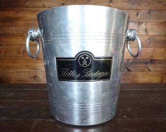 Vintage French Flotte de Bretagne Chrome Nickel metal ice bucket wine Champagne circa 1980s / English Shop