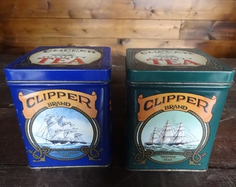 Vintage English Clipper Brand Tea Tin Canister Decor Kitchen Food Storage Box circa 1970-80's / English Shop