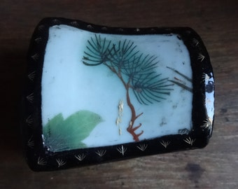 Vintage Chinese Wooden Lacquer Jewellery Trinket Ring Box With Older Repurposed Piece Of Ceramic circa 1980's / English Shop