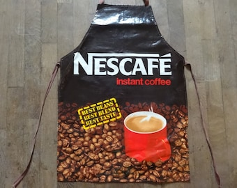 Vintage English Cotton Coated PVC Nescafe Instant Coffee Apron Cooking Kitchen Collectable circa 1970-80's / English Shop