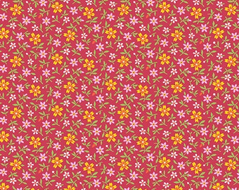Little House on the Prairie Red Pink Tossed Flowers by Kathy Hall for Andover
