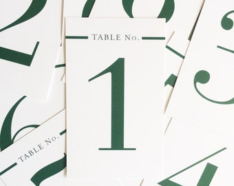 Emerald Classic & Simple Wedding Table Number - Set of 20 Table Markers