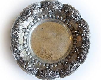 Antique 800 German Silver Repousse Bowl