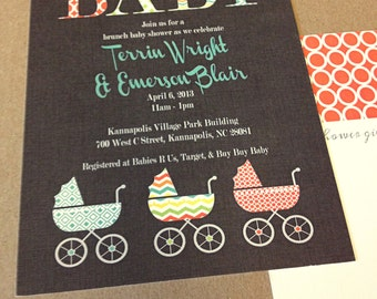 PRINTED Baby Stroller Shower invitation, lot of 25