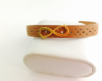 Brown Leather Infinity Cuff Bracelet, Gold Tone, Upcycled, Hand Made in The USA, Item No. De171