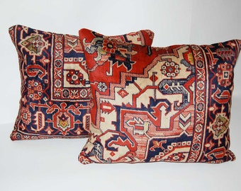 Rug both sides  pillow  SET OF TWO Asia housewares, throw pillows, velour 15.5x19.5 vintage fabric etnic designe