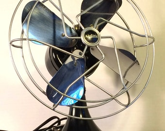 Fan 1930's Deco Electric Black and Silver Chrome Blades Montgomery Ward Airline