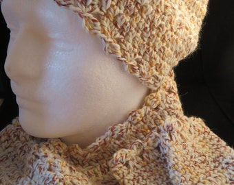 Ladie's Crochet Hat, Scarf and Fingerless Gloves-Cream, Gold and Copper