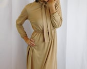 Vintage Nude Beige Secretary Dress With Pussy Bow Collar By Bleeker Street