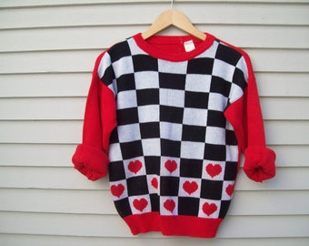 Vintage 80's Heart And checkerboard Sweater Retro Pullover Size XS-Small