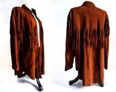 russet brown leather fringe shirt or jacket . vintage 80's does the 60's . size medium large