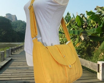 Summer Sale 10% off Golden canvas messenger bag / shoulder bag / everyday bag / diaper bag / cross body bag 6 pockets