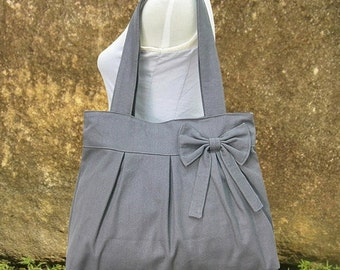 Summer Sale 10% off Gray canvas tote bag, fabric shoulder bag for women