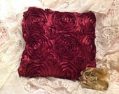 SILKY ROSES Pillow COVER with plush and dimensional, twirled rose fabric gorgeous rich Burgundy color