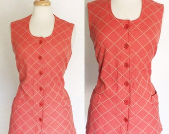 FREE SHIPPING//Vintage orange and beige criss cross vest