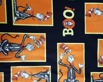 Seuss Halloween Cat in the Hat. WOVEN cotton fabric.